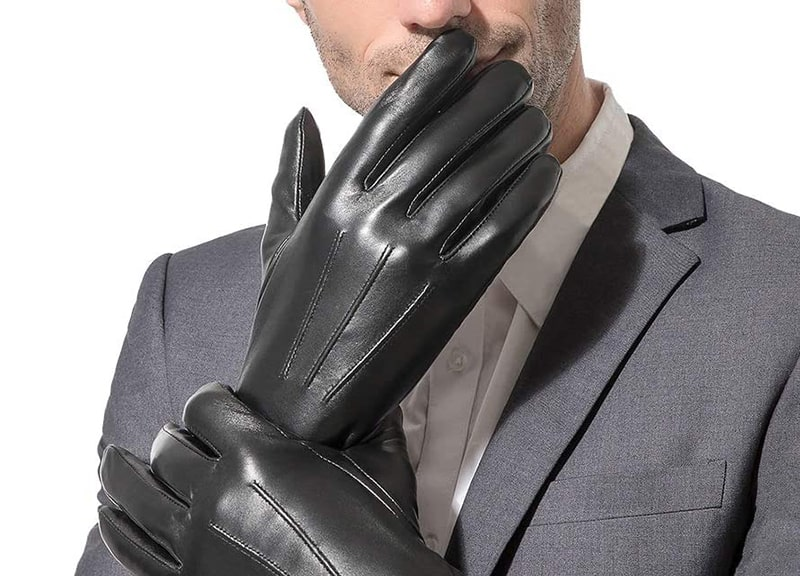 Sanfiland Men's Leather Gloves Black Driving/ Working Touchscreen Gloves
