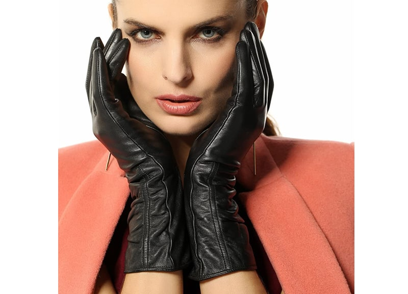 WARMEN Women's Lambskin Touchscreen Texting Leather Gloves