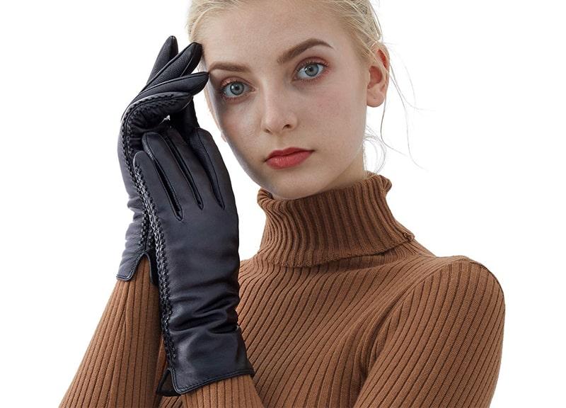 QNLYCZY Genuine Sheepskin Leather Gloves For Women