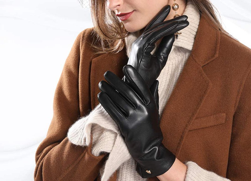 Frlozs Soft Winter Genuine Leather Gloves for Women