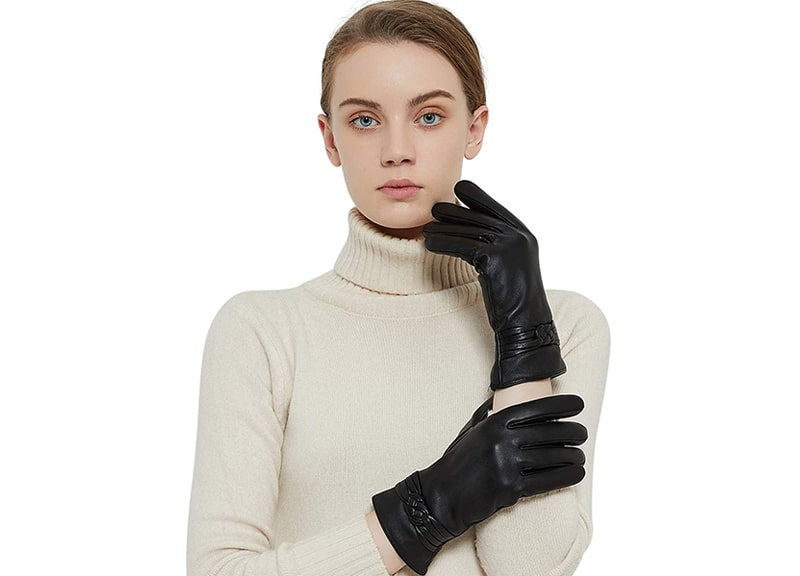 QNLYCZY Genuine Sheepskin Leather Gloves For Women in Winter
