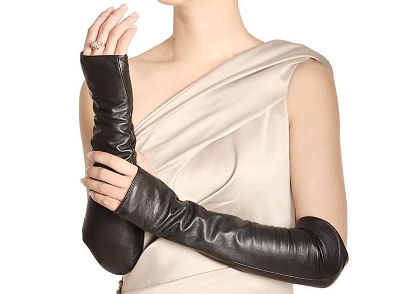 WARMEN Women Genuine Nappa Leather Elbow Long-Fingerless Gloves