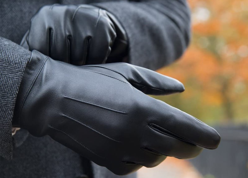 Best Overall: Downholme-Touchscreen Leather Cashmere-Lined Gloves for Men