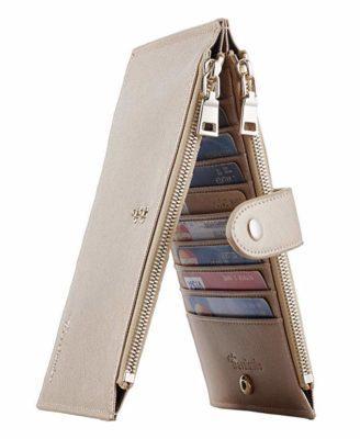 Best For Women: Travelambo RFID Blocking Bifold Credit Card Holder Wallet with Zipper Pocket